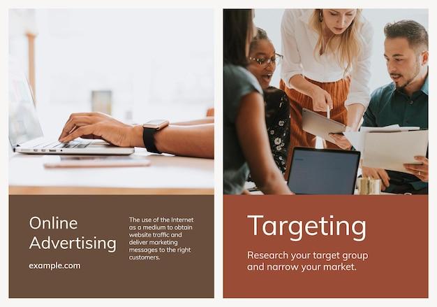 Varias plantillas de marketing digital conjunto de carteles de negocios.