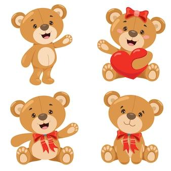 Varias poses de oso de peluche de dibujos animados
