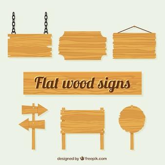 Varias señales de textura de madera