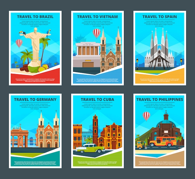 De varias tarjetas de viaje de monumentos famosos