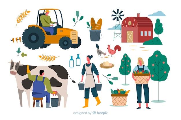 Variedad de actividades de los trabajadores agrícolas.