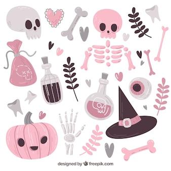 Variedad adorable de elementos de halloween