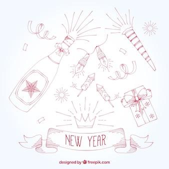 Variedad de adornos de fiesta de año nuevo dibujados a mano