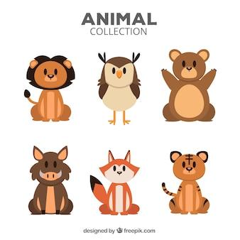 Variedad de animales con diseño plano