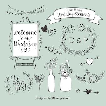 Variedad de artículos de boda dibujados a mano