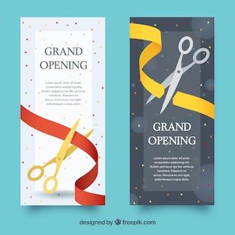 Variedad de banners de inauguración elegantes