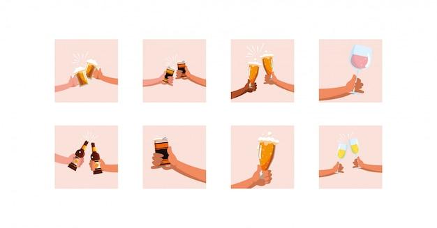 Variedad de bebidas alcohólicas set pack diseño vectorial