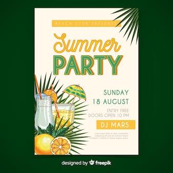 Variedad de bebidas cartel de fiesta de verano