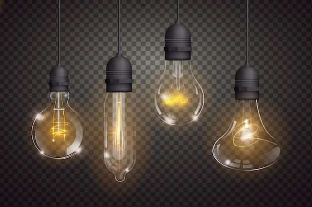 Variedad de bombillas realistas.