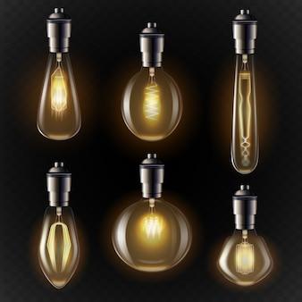 Variedad de bombillas en tonos dorados.