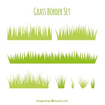 Variedad de bordes de hierba en diseño plano