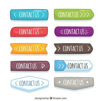 Variedad de botones de colores dibujados a mano