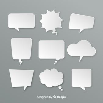 Variedad de burbujas de chat de diseño plano en papel