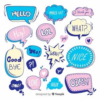 Variedad de burbujas de discurso con mensajes.