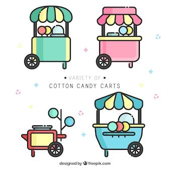 Variedad de carros de algodón de azúcar