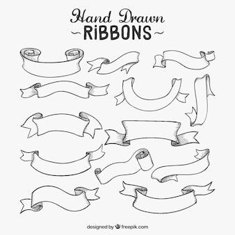 Variedad de cintas dibujadas a mano