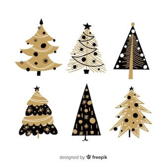 Variedad de colección de árboles de navidad.
