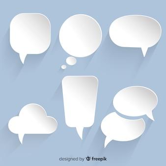 Variedad de colección de burbujas de chat en diseño de papel.