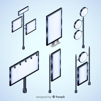 Variedad de colección de diseño de cartelera isométrica.