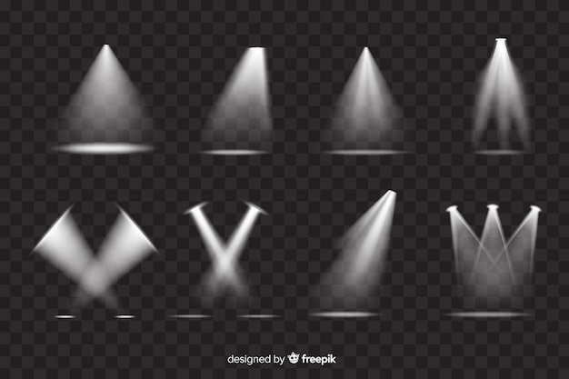 Variedad de colección de focos de teatro.