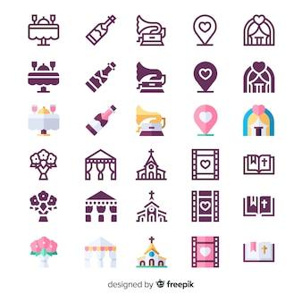 Variedad de colección de iconos de bodas