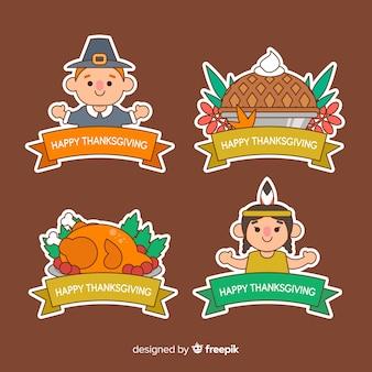 Variedad de colección de insignias de acción de gracias