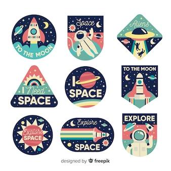 Variedad de colección de pegatinas de naves espaciales