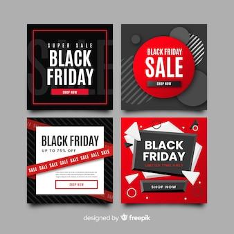 Variedad de colección de publicaciones de instagram de viernes negro