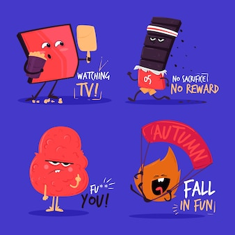 Variedad de colección de stickers divertidos