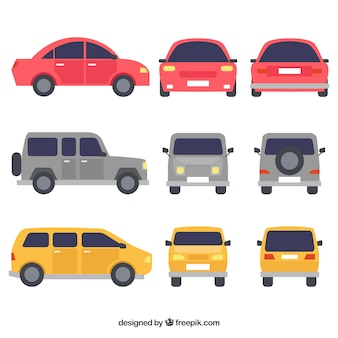 Variedad colorida de coches planos