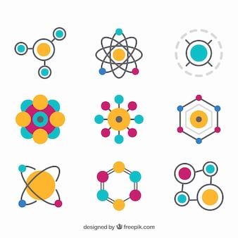 Variedad colorida de moléculas planas