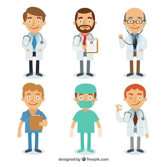 Variedad completa de doctores sonrientes