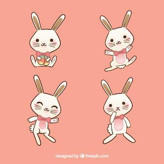 Variedad de conejos de pascua divertidos