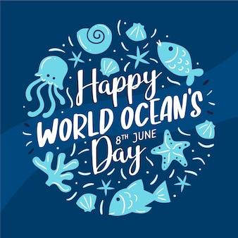 Variedad de criaturas marinas día de los océanos dibujados a mano