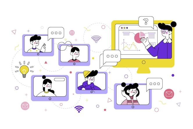 Variedad de cursos en línea con profesores.