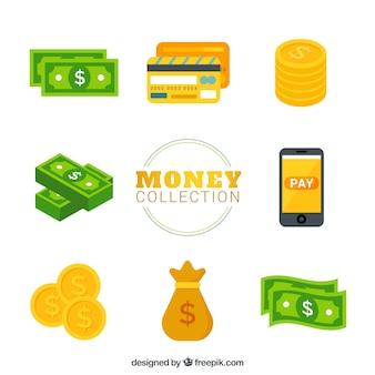 Variedad de billetes con monedas y otros elementos