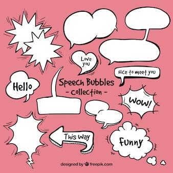 Variedad de bocadillos de diálogo de comic dibujados a mano