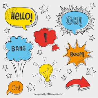 Variedad de burbujas de dialogo esbozadas