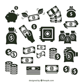 Variedad de iconos de dinero