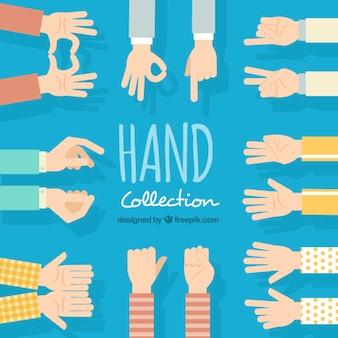 Variedad de manos en diseño plano