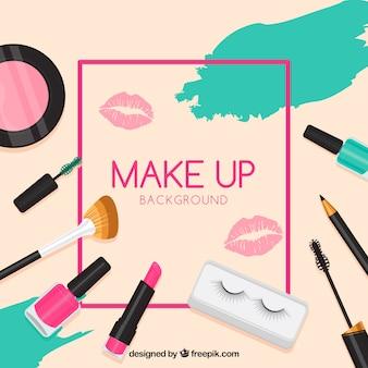 Variedad de maquillaje con diseño plano