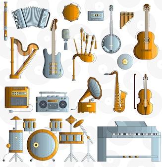 Variedad de diferentes instrumentos musicales y equipos de juego.