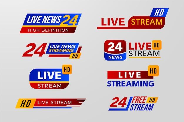 Variedad de diseño para banners de noticias en vivo.