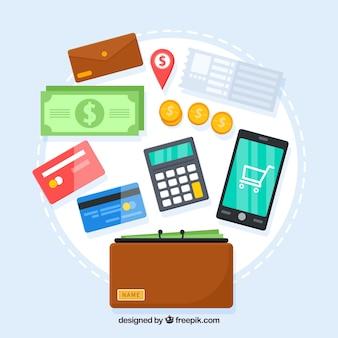 Variedad con diseño plano de elementos de pagos