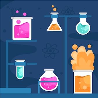 Variedad de diseño plano de gafas de laboratorio de ciencias