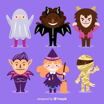Variedad de disfraces de monstruos de halloween conocidos para niños