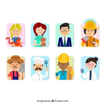 Variedad divertida de avatares de trabajos