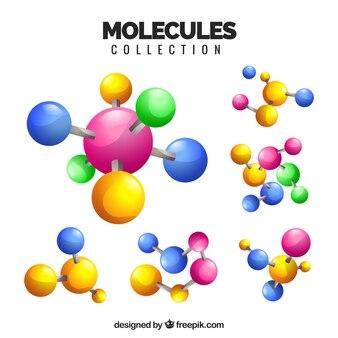 Variedad divertida de moléculas coloridas