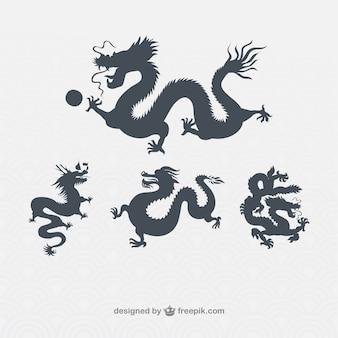 Variedad de dragones chinos siluetas