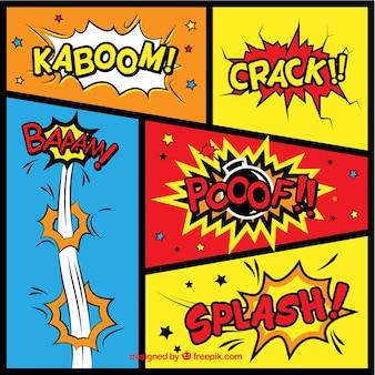Variedad de efectos de sonido de cómic